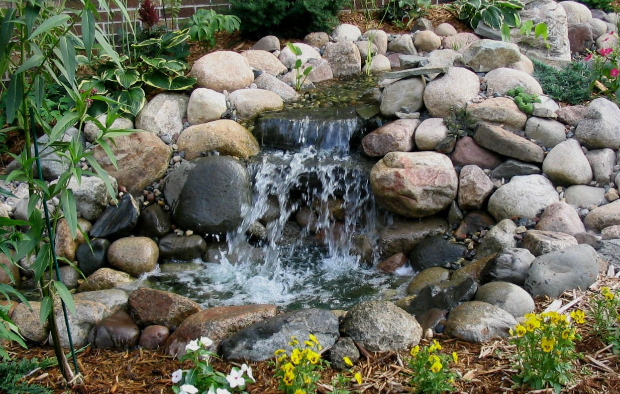 Waterfall design image home staging accessories 2014 for Garden pond waterfalls for sale
